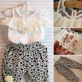 For Sale Kids Girls Hoilday Party Clothes Set Lace Floral Shirt Tops Pants 2Pcs Outfits Intl