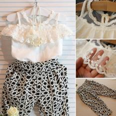 Get The Best Price For Kids Girls Hoilday Party Clothes Set Lace Floral Shirt Tops Pants 2Pcs Outfits Intl