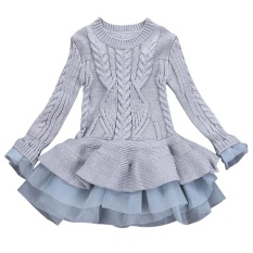 Kids Girls Knitted Sweater Winter Pullovers Crochet Tutu Dress Tops Clothes Intl In Stock