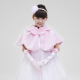 Buy Cheap Kids Girls Shawl Cape Cover Up Faux Fur Shrug Bridesmaid Clothing(Pink) Intl