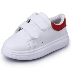 Kids Unisex Girls Boys Children Casual Solid Cute Leather Sch**l Flat Shoes I04 Red Intl Cheap