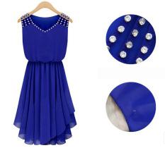 Compare Price Kisnow Slimy Chiffon Diamond Midi Dresses Color Royal Blue Intl On China