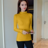 Deals For Knitted New Style Frilled Slim Fit Top Long Sleeved Sweater Ming Yellow