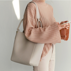 Coupon Women S Korean Style Simple Style Shoulder Bag Off White Partial Light Gray Off White Partial Light Gray