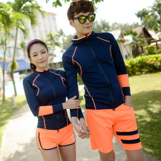 Best Offer Korea Snorkeling Clothing Zip Diving Clothes Split Jellyfish Clothing For Men And Women Quick Drying Long Sleeved Swimming Clothing Sunscreen Trousers Suit Tibetan Orange Men S Two Piece Sets