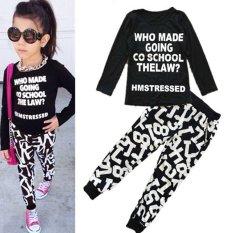 Sale Korean 2 7 Yrs Girls 2 Pieces Cotton Pant Shirts Tops Color Black Intl China