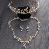 Wholesale Crown Korean Style Crystal Gold Pearl Wedding Veil Dress Headwear Necklace Ear Clip Earrings Headwear Necklace Ear Clip Earrings