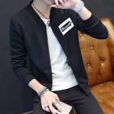 Brand New Korean Casual Slim Jacket Men S Student Baseball Wear Black Intl