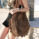Latest Popular Flowers Handmade Woven Shoulder Bag Brown Brown Brown Brown