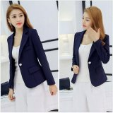 Low Price Korean Fashion Pure Color Tender Waist Casual Jacket Office Suit Blazer Color Dark Blue Intl
