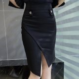 Coupon Korean Irregular Women Pencil Skirts Plus Size Bodycon Ol High Waist Skirt Single Breasted Split Office Skirt S 5Xl Black Intl