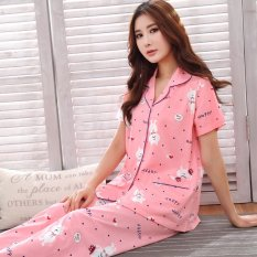 New Mm Cotton Women Summer Cotton Short Sleeved Tracksuit Korean Style Pajamas 8829