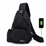 Shop For Korean Leisure Outdoor Sprot Sling Bag Shoulder Backpack Casual Cross Body Bag Outdoor Sling Backpack Usb Charge Chest Bags Black Intl