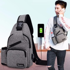 Review Korean Leisure Outdoor Sprot Sling Bag Shoulder Backpack Casual Cross Body Bag Outdoor Sling Backpack Usb Charge Chest Bags Grey Intl China