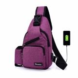 Price Korean Leisure Outdoor Sprot Sling Bag Shoulder Backpack Casual Cross Body Bag Outdoor Sling Backpack Usb Charge Chest Bags Pruple Intl Hush Gecko New