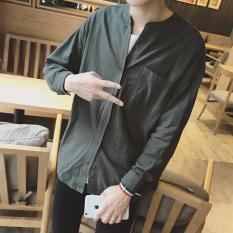 Discount Korean Linen Cotton Men Comfort Shirts 3 4 Roll Up Cuffed Sleeve With Pocket Button Down Slim Fit Plus Size Deep Green Intl Armane China