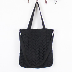 Best Women S Korean Style All Match Lace And Canvas Bag Black Black