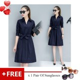Get The Best Price For Korean Ol Women S 3 4 Sleeves Bow Tie Belt Loose Tunic A Line Casual Swing Dress With Pockets Knee Length V Neck For Office Lady Free Sunglasses Intl