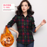 Coupon Han Brushed Fleece Lined Female Plaid Top Coat Warm Shirts Tl9001 Stretch Plus Velvet Tl9001 Stretch Plus Velvet