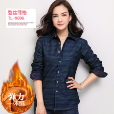 Best Rated Han Brushed Fleece Lined Female Plaid Top Coat Warm Shirts Tl9006 Stretch Plus Velvet Tl9006 Stretch Plus Velvet