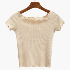 Where To Shop For High Waisted Short Paragraph T Shirt Short Sleeved A Word Shoulder Flounced Shirt Off The Shoulder Slim Effort Wild Striped Shirt Bottoming Beige