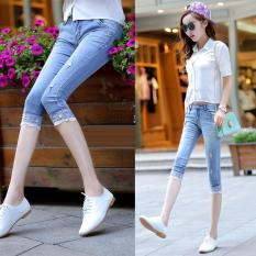 Korean Slim Cropped Jeans Women Lace Trouser Seventh Pants Capri Jeans Frayed Straight Trousers Intl Cheap