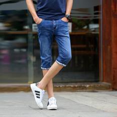 Price Compare Korean Slim Men Denim Middle Pants Breeches Jeans Pirate Shorts Hot Pants Intl