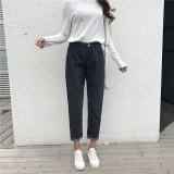 Loose Korean Style Black G*rl S Frayed Jeans Harem Pants Price Comparison