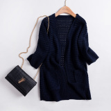 Retail Korean Style Spring And Autumn Long Sleeve Porous Thin Sweater Men S Sweaters Navy