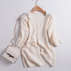Korean Style Spring And Autumn Long Sleeve Porous Thin Sweater Men S Sweaters Off White Color Cheap