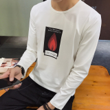 Cheapest Men S Korean Style Slim Fit Round Neck Long Sleeve T Shirt Flame White Flame White Online