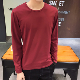 How To Buy Men S Korean Style Slim Fit Round Neck Long Sleeve T Shirt Round Neck Solid Color Wine Red Round Neck Solid Color Wine Red