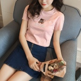 Coupon Korean Style Bear Embroidered Cotton T Shirt Intl