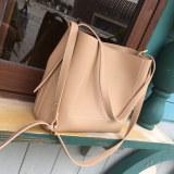 Discounted Women S Korean Style Minimalist Large Bucket Bag Beige Beige
