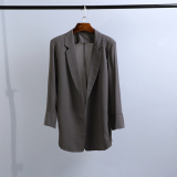 Women S Korean Style Slim Fit Chiffon Blazer Gray Gray On China