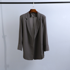 Women S Korean Style Slim Fit Chiffon Blazer Gray Gray For Sale