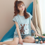 Korean Style Cotton Female Summer Tracksuit Pajamas 7711 Two Only Rabbit Coupon Code