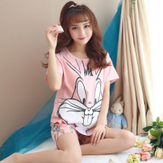 Review Loose Korean Cotton Female Summer Pajama Women S Sleepwear H3305 Pink Bugs Bunny H3305 Pink Bugs Bunny Other