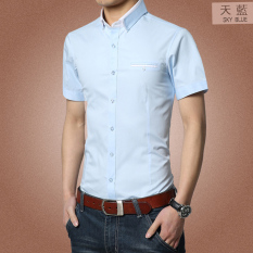 Top Rated Zhihu Korean Style Slim Fit Short Sleeve Cotton Shirt For Men Sky Blue Color Sky Blue Color