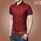 For Sale Zhihu Korean Style Slim Fit Short Sleeve Cotton Shirt For Men Wine Red Color Wine Red Color