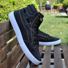 Price Korean Denim Men Breathable Sneakers High Top Unisex Shoe Black Black Online China