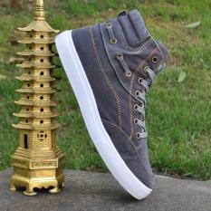 Low Cost Korean Denim Men Breathable Sneakers High Top Unisex Shoe Gray Gray