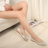 Korean Rhinestone New In Spring And Autumn Pointed Toe Flat Shoes Silver Peacock Flower Silver Peacock Flower For Sale
