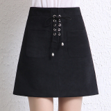 Who Sells Korean Style Deerskin Velvet Khaki Autumn And Winter Skirt Black Cheap