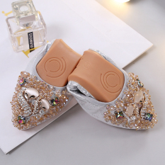 The Cheapest Women S Korean Style Rhinestone Pointed Toe Soft Sole Shoes Silver Silver Online
