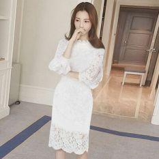 Low Cost Korean Style Elegant Female Long Sleeved A Line Dress Dress Black