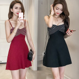 Sale Korean Style Elegant Sleeveless Slim Fit Dress Wine Red Color China
