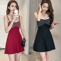 Buy Korean Style Elegant Sleeveless Slim Fit Dress Wine Red Color Oem Online