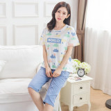 Korean Style Female Cotton Short Sleeve Length Pants Home Clothes Summer Pajamas 702 Length Pants Suit On Line