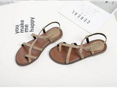 Korean Female Flat Students Shoes Pinch Sandals Beige Beige Free Shipping